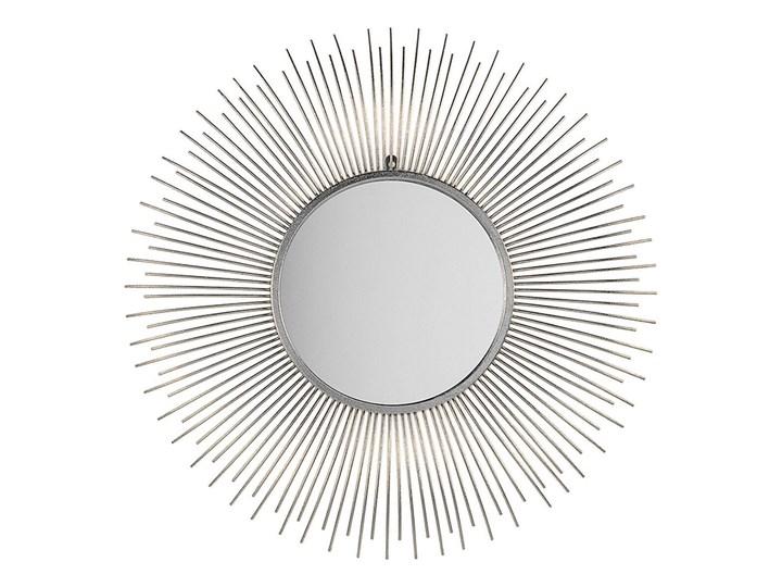 Beliani Lustro wiszące ścienne srebrne 80 cm okrągłe metalowe promienie słońca