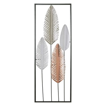Beliani Dekoracja ścienna srebrno-złota pióra metalowa 90 x 31 cm ozdoba styl nowoczesny