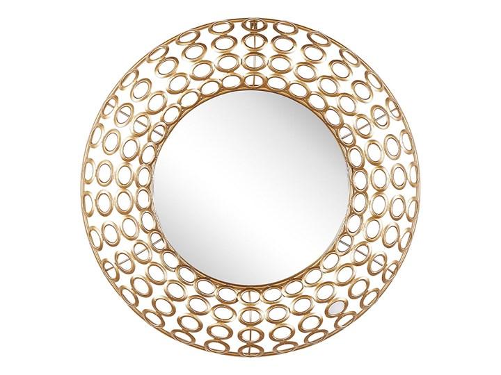 Beliani Lustro ścienne wiszące okrągłe złote ø 80 cm dekoracja ścienna styl eklektyczny salon