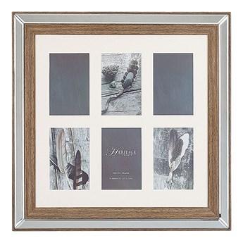 Beliani Multiramka ciemne drewno drewniana lustrzana 50 x 50 cm na zdjęcia 6 fotografii 10 x 15 cm kolaż wisząca