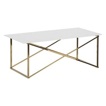 Beliani Stolik kawowy prostokątny biały blat złote nogi szkło hartowane baza stal nierdzewna 100 x 50 cm styl glam minimalistyczny