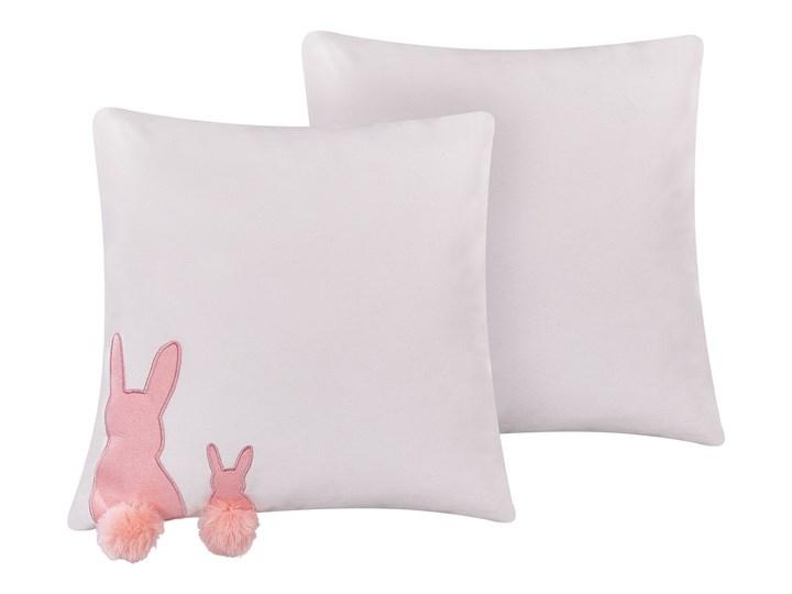 Beliani Zestaw 2 poduszek dekoracyjnych biały bawełniany 45 x 45 cm haft z królikiem pompony wielkan ...