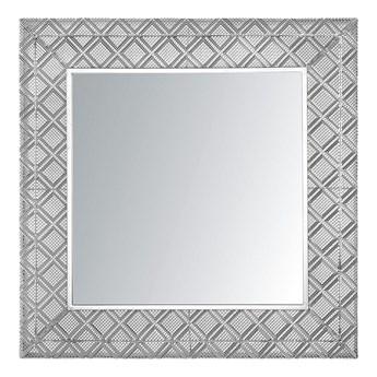 Beliani Lustro wiszące dekoracyjne kwadratowe srebrne 80 x 80 cm orientalna rama w romby