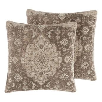 Beliani Zestaw 2 poduszek dekoracyjnych brązowy orientalny 45 x 45 cm vintage z wypełnieniem ozdobny akcesoria salon sypialnia