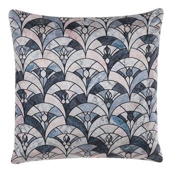 Beliani Poduszka dekoracyjna niebiesko-beżowa wzór vintage 45 x 45 cm z wypełnieniem ozdobna akcesoria salon sypialnia