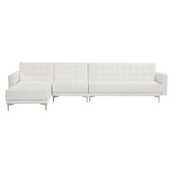 Beliani Narożnik rozkładany biały ekoskóra modułowy 5-osobowy nowoczesna pikowana sofa do salonu z szezlongiem prawostronna
