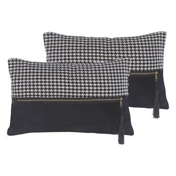 Beliani Zestaw 2 poduszek dekoracyjnych biało-czarne wzór w pepitkę 30 x 50 cm z wypełnieniem ozdobna akcesoria salon sypialnia