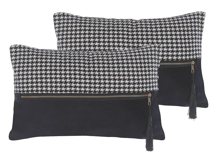 Beliani Zestaw 2 poduszek dekoracyjnych biało-czarne wzór w pepitkę 30 x 50 cm z wypełnieniem ozdobn ...