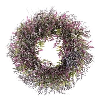 Beliani Wianek na drzwi fioletowy dekoracyjny kwiatowy 50 cm okrągła ozdoba ścienna na stół w stylu rustykalnym tradycyjnym boho