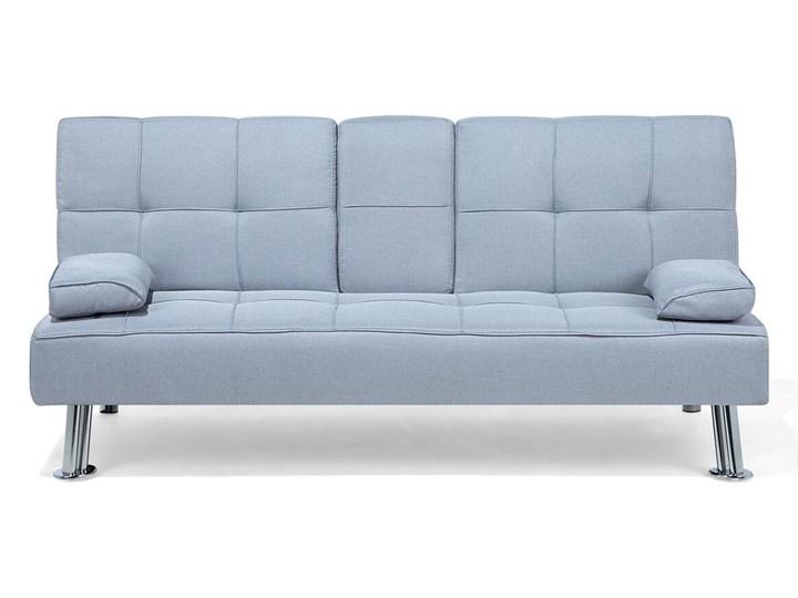 Beliani Sofa rozkładana niebieska tapicerowana kanapa do salonu pokoju ze składanym stolikiem nowocz ...