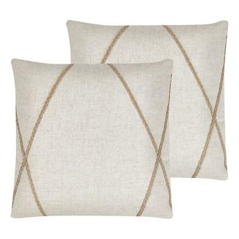 Beliani Zestaw 2 poduszek dekoracyjnych beżowy 45 x 45 cm jutowe paski zdejmowana poszewka ozdobna poducha na sofę łóżko boho nowoczesny styl