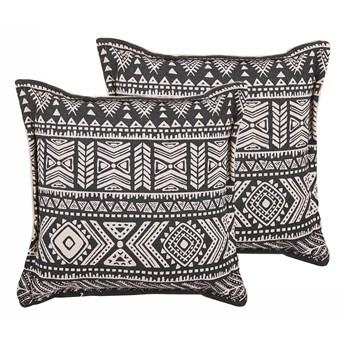 Beliani Dwie poduszki zestaw czarne z beżowym bawełniana poducha z wypełnieniem wzór boho kwadratowa 45 x 45 cm