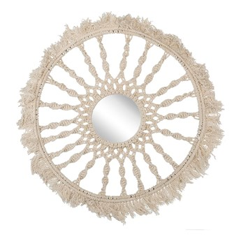 Beliani Lustro wiszące beżowe makrama bawełniana ø 55 cm plecionka z frędzlami styl boho