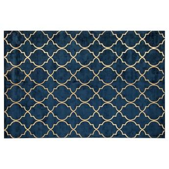Beliani Dywan niebieski ze złotym wzorem marokańska koniczyna wiskoza z bawełną 160 x 230 cm styl nowoczesny glamour
