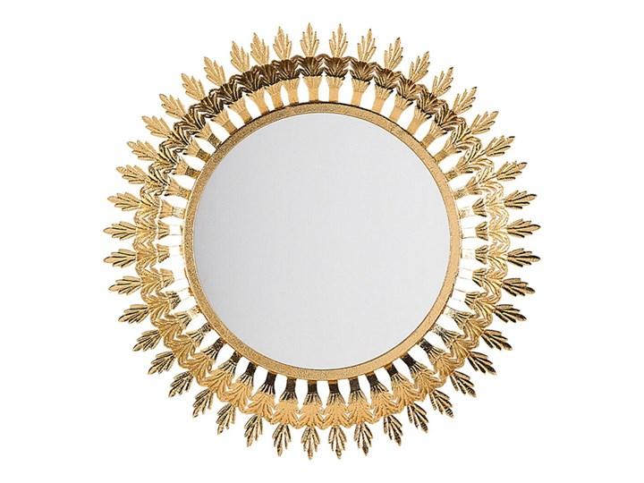 Beliani Lustro ścienne wiszące złote 60 cm salon sypialnia Lustro z ramą Okrągłe Styl Glamour Kolor Złoty