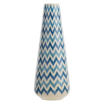 Beliani Wysoki wazon dekoracyjny biało-niebieski ceramiczny 38 cm z dekor zig zag styl nowoczesny