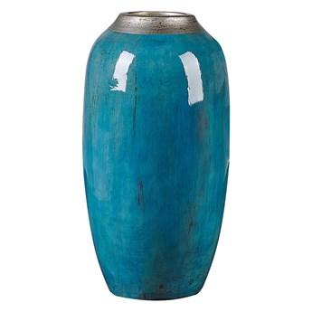 Beliani Wazon dekoracyjny niebieski z terakoty 42 cm nowoczesny stołowy