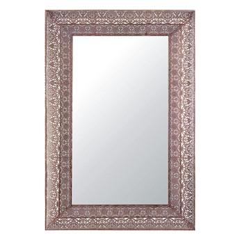 Beliani Lustro ścienne wiszące miedziane metalowe 60 x 90 cm ozdobne dekoracyjne szeroka rama do salonu sypialni przedpokoju styl orientalny marokański