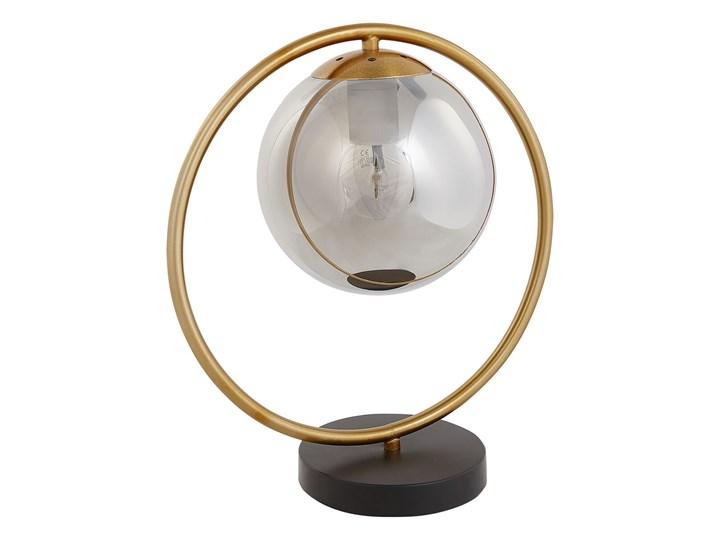 Beliani Lampa stołowa metalowa złota szklany klosz do salonu do sypialni glam nowoczesna na stolik p ...