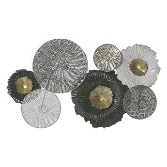 Beliani Dekoracja ścienna czarno-srebrna kółka metalowa 64 x 38 cm ozdoba styl nowoczesny
