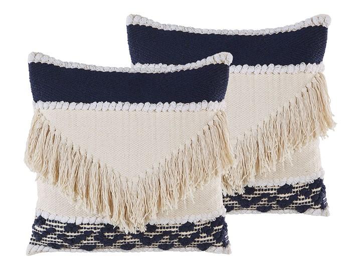 Beliani Zestaw 2 poduszek dekoracyjnych beżowy bawełniany 45 x 45 cm zdejmowana teksturowana poszewk ...