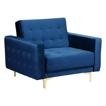 Beliani Fotel rozkładany niebieski welurowy pikowany nowoczesny styl złote nogi