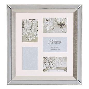 Beliani Multiramka srebrna lustrzana 49 x 44 cm na zdjęcia 5 fotografii 10 x 15 cm kolaż wisząca