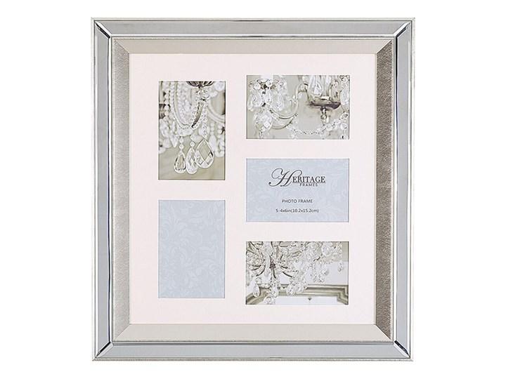Beliani Multiramka srebrna lustrzana 49 x 44 cm na zdjęcia 5 fotografii 10 x 15 cm kolaż wisząca Kategoria Ramy i ramki na zdjęcia