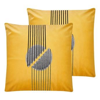 Beliani Zestaw 2 poduszek dekoracyjnych żółty welurowy 45 x 45 cm glam z zamkiem do salonu do sypialni