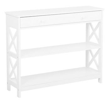 Beliani Konsola biała z szufladą i półkami 100 x 30 cm do salonu sypialni