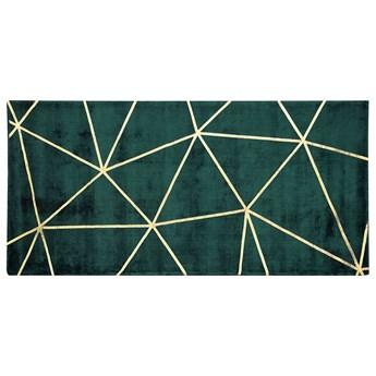Beliani Dywan niebieski ze złotym geometrycznym wzorem wiskoza z bawełną 80 x 150 cm do sypialni salonu styl nowoczesny glamour