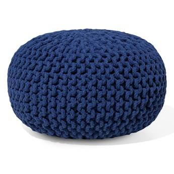 Beliani Puf niebieski bawełniany 40 x 25 cm okrągły pleciony dziergany