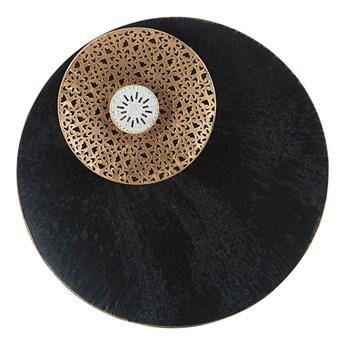 Beliani Dekoracja ścienna okrągła czarno-złota metalowa postarzana styl vintage