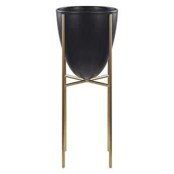 Beliani Doniczka na stojaku czarno-złota metalowa 16 x 16 x 41 cm kwietnik stojący stojak na kwiaty na ogród do salonu nowoczesny glamour