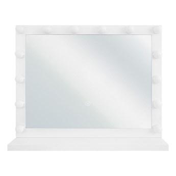 Beliani Lustro stojące 50 x 60 cm stołowe na toaletkę biała rama z żarówkami LED