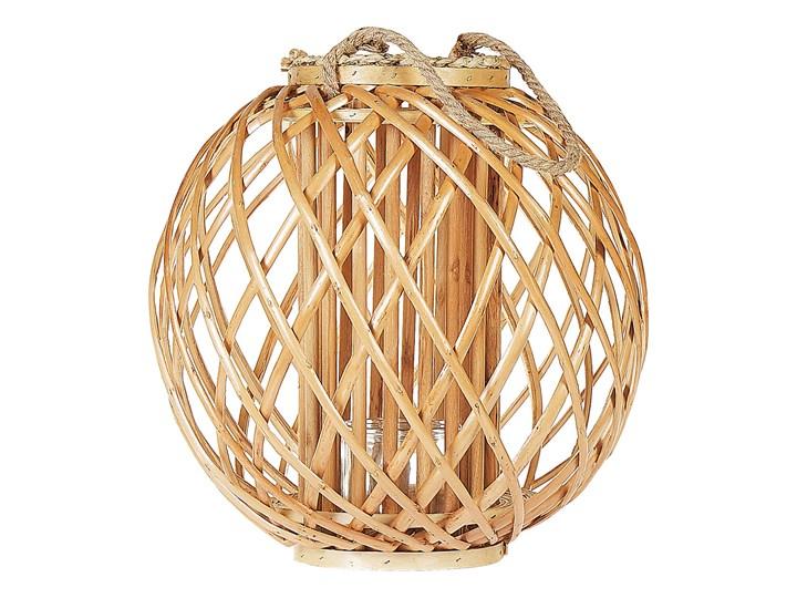 Beliani Lampion dekoracyjny jasne drewno 41 cm ozdobna latarnia na świecę Kategoria Świeczniki i świece Szkło Kolor Beżowy