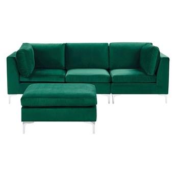 Beliani Sofa modułowa zielona welurowa sofa 3-osobowa z otomaną metalowe nóżki w stylu glamour