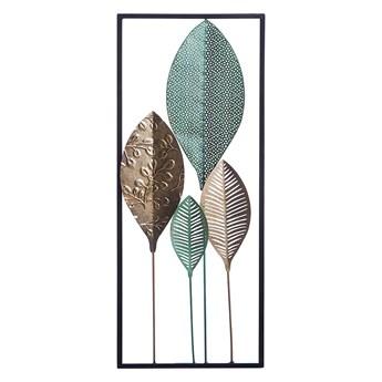 Beliani Dekoracja ścienna liście zielono-złoty metalowa ażurowa ozdoba styl nowoczesny