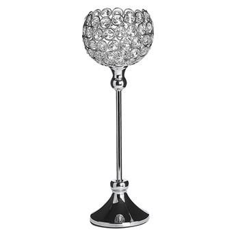 Beliani Świecznik srebrny metalowy kryształowy lampion na nóżce na tealight 27 cm elegancka dekoracja stołu komody ozdoba styl glamour