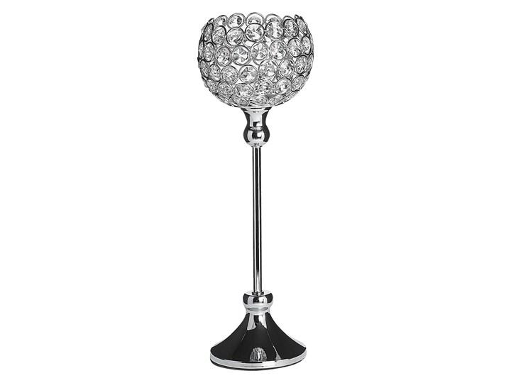 Beliani Świecznik srebrny metalowy kryształowy lampion na nóżce na tealight 27 cm elegancka dekoracj ...
