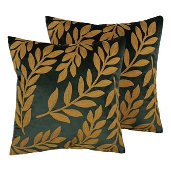 Beliani Zestaw 2 poduszek dekoracyjnych zielony welurowy haftowane żółte liście 45 x 45 cm z wypełnieniem ozdobna akcesoria salon sypialnia