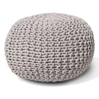 Beliani Puf jasnoszary bawełniany 40 x 25 cm okrągły pleciony dziergany