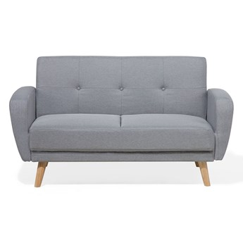 Beliani Sofa rozkładana szara 2-osobowa z funkcją spania pikowana amerykanka styl skandynawski