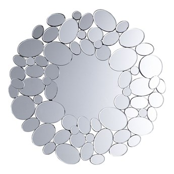 Beliani Lustro ścienne wiszące srebrne nowoczesne salon sypialnia