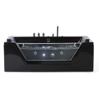 Beliani Wanna czarna akrylowa 150 x 71 cm LED hydromasaż zagłówki prostokątna nowoczesna