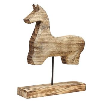Beliani Figurka dekoracyjna jasne drewno paulownia kształt konia stojak nowoczesna