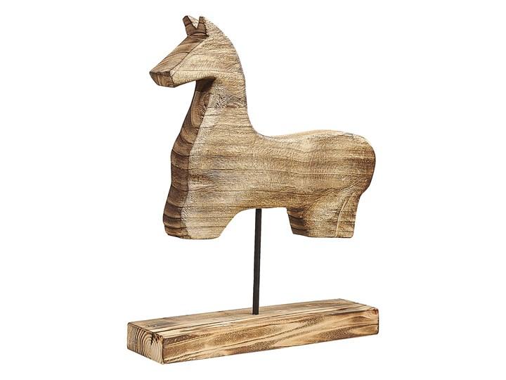 Beliani Figurka dekoracyjna jasne drewno paulownia kształt konia stojak nowoczesna Zwierzęta Kategoria Figury i rzeźby