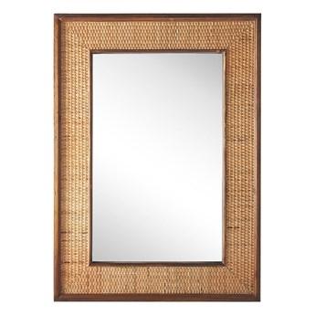 Beliani Lustro ścienne jasne drewno prostokątna rama 54 x 74 cm ręcznie wykonana plecionka boho