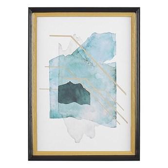 Beliani Obraz w ramie niebiesko-złoty 30 x 40 cm na ścianę efekt akwareli plakat