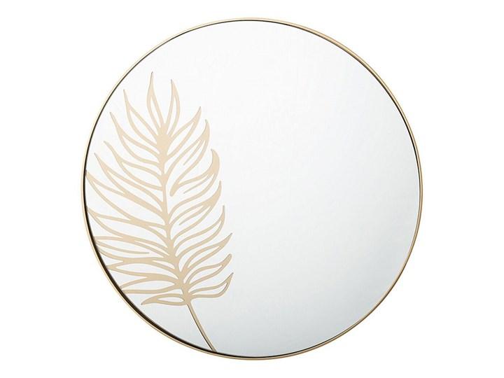Beliani Okrągłe lustro ścienne złote rama 57 cm wzór liścia łazienka salon styl retro